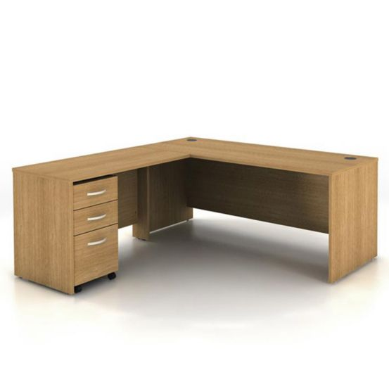 Reversible L-Shaped Desk with Pedestal in Modern Walnut